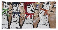 Beach Towel featuring the painting Easter Island Snow Men by Jeffrey Koss