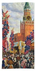Easter Market At The Moscow Kremlin Beach Towel by Boris Mikhailovich Kustodiev