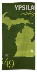 Eastern Michigan University Eagles Ypsilanti College Town State Map Poster Series No 035 Beach Towel