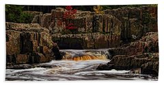 Waterfall Under Colored Leaves Beach Towel