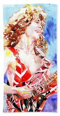 Eddie Van Halen Playing The Guitar.2 Watercolor Portrait Beach Towel by Fabrizio Cassetta