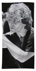 Eddie Vedder Black And White Beach Towel by Joshua Morton