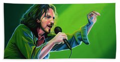 Eddie Vedder Of Pearl Jam Beach Sheet by Paul Meijering