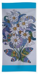 Beach Towel featuring the drawing Edelweiss by Megan Walsh