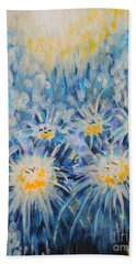 Beach Towel featuring the painting Edentian Garden by Holly Carmichael