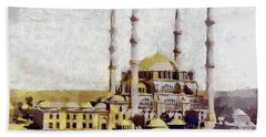 Beach Sheet featuring the painting Edirne Turkey Old Town by Georgi Dimitrov