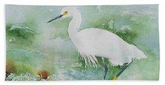 Egret 2 Beach Towel by Christine Lathrop