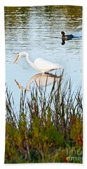 Beach Sheet featuring the photograph Egret And Coot In Autumn by Kate Brown