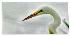 Egret Close-up Beach Sheet