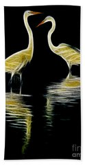 Egret Pair Beach Sheet by Jerry Fornarotto