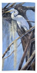 Egret Perch Beach Towel