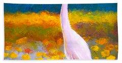 Egret Water Bird Beach Towel by Jan Matson
