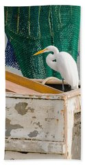 Egret With Fishing Net Beach Sheet