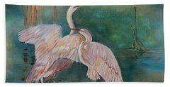 Beach Towel featuring the painting Egrets In The Mist by Jenny Lee