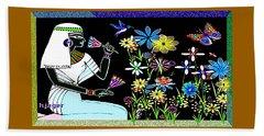 Beach Towel featuring the digital art Egyptian Flower  Garden by Hartmut Jager