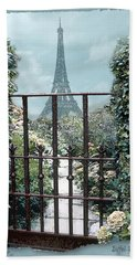 Eiffel Garden In Blue Beach Towel