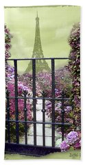 Eiffel Garden Beach Towel