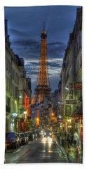 Eiffel Over Paris Beach Towel