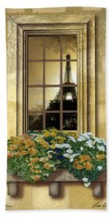 Eiffel Reflection Beach Towel