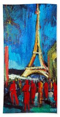 Eiffel Tower And The Red Visitors Beach Towel