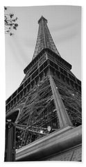 Eiffel Tower In Black And White Beach Towel
