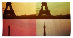 Eiffel Tower In Sunset Beach Towel
