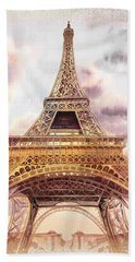 Eiffel Tower Vintage Art Beach Towel by Irina Sztukowski