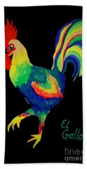 Beach Sheet featuring the painting El Gallo by Marisela Mungia