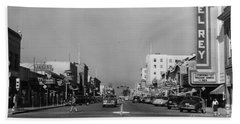 El Rey Theater Main Street Salinas Circa 1950 Beach Towel