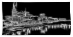 Electric Nashville Skyline At Night Beach Sheet by Dan Sproul