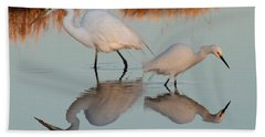 Elegant Big And Small Great White And Snowy Egrets Beach Sheet