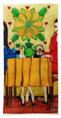 Beach Towel featuring the painting Elegant Ladies In A Coffee-shop by Don Pedro De Gracia