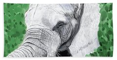 Beach Towel featuring the painting Elephant 1 by Jeanne Fischer