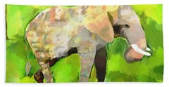 Beach Towel featuring the painting Elephant 4 by Jeanne Fischer