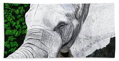 Beach Towel featuring the painting Elephant II by Jeanne Fischer