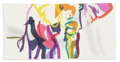 Elephant In Color Ecru Beach Towel