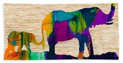 Elephant Journey Parent And Child Beach Towel