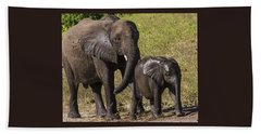 Elephant Mom And Baby Beach Sheet