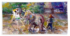 Beach Towel featuring the painting Elephant Painting by Bernadette Krupa