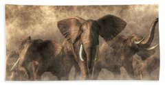 Elephant Stampede Beach Towel by Daniel Eskridge