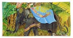 Elephant With Monkeys And Parasol, 2005 Acrylic On Canvas Beach Towel