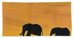 Elephants - At - Sunset Beach Towel