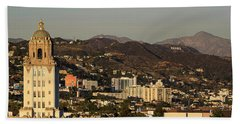Elevated View Of A City, West Beach Towel by Panoramic Images