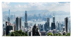 Elevated View Of Skylines, Hong Kong Beach Towel by Panoramic Images