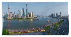 Elevated View Of Skylines, Oriental Beach Towel