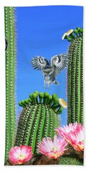 Elf Owls Of Saguaro Desert Beach Towel