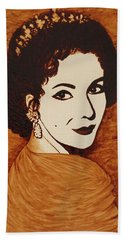 Elizabeth Taylor Original Coffee Painting On Paper Beach Sheet by Georgeta  Blanaru