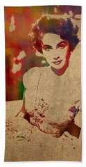 Elizabeth Taylor Watercolor Portrait On Worn Distressed Canvas Beach Towel
