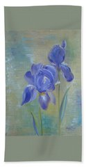 Beach Towel featuring the painting Elizabeth's Irises by Judith Rhue