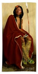 Beach Sheet featuring the painting Elk Foot - Taos Tribe by Pg Reproductions